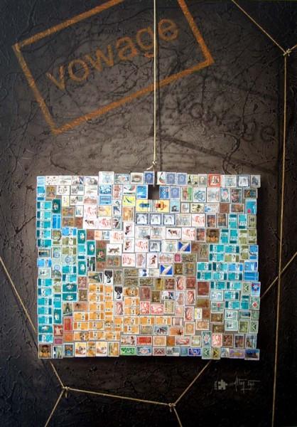 """Pintura - """"VOWAGE"""" num Envelope de Selos"""