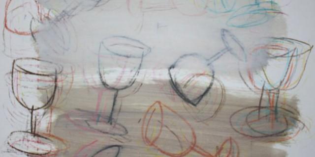 Pintura desenho de copos – sem titulo